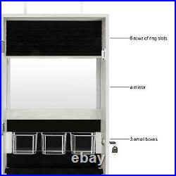 Lockable Mirror Jewelry Cabinet Armoire Makeup Storage Box with Full-Length Mirror