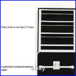 Lockable Mirror Jewelry Cabinet Dressing Armoire Mirror Organizer Storage Floor
