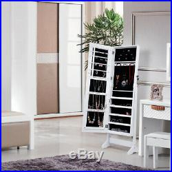 Lockable Mirrored Jewelry Rings Cabinet Armoire Organizer Storage Box With Stand