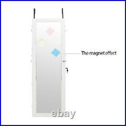 Lockable Mirrored Jewelry Wall Cabinet Armoire Mirror Hang Organizer Storage Box