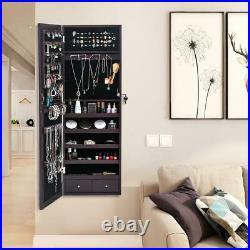 Lockable Mounted Jewelry Cabinet Wall Door Armoire Mirror Storage Organizer