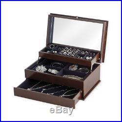 Lori Greiner Auto-Open Safekeeper Jewelry Box Mirror, Espresso NEW FreeShip