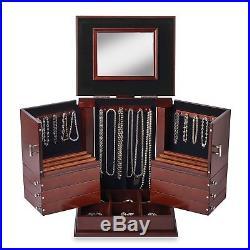 Lori Greiner Deluxe Jewelry Box Wood Walnut Anti-Tarnish Armoire Storage Chest