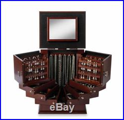 Lori Greiner Deluxe Wood Jewelry Display Storage Box Organizer Chest Anti Tarnis