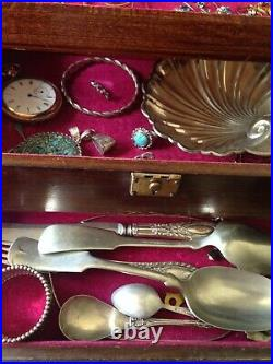 Lot Of Mixed Jewelry In Vintage Wood Box, 459 Grams, Sterling Silver, 14K Gold