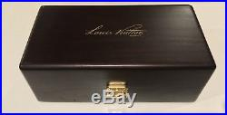 Louis Vuitton RARE JEWELRY/SUNGLASSES WOOD BOX, BRASS LV CLASP SILK RED INTERIOR