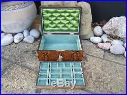 Lovely 19c Figured Inlaid Walnut Antique Jewellery Box Fab Interior