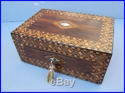 Lovely 19c Figured Walnut Inlaid Antique Jewellery Box Fab Interior