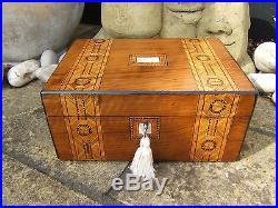 Lovely 19c Inlaid Walnut Antique Jewellery Box Fab Interior