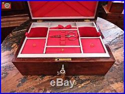 Lovely Mahogany Jewellery / Work Box, Brass Fittings. Restored Interior