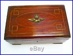 Lovely Ww2 Vintage Raf Air Training Cadet Corps Inlaid Mahogany Jewellery Box