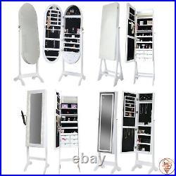 Luxury Floor Standing Jewellery Cabinet & Mirror with Lights For Makeup Bedroom