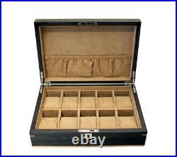 Luxury Large 10 Ginko Wood Watch Storage Wooden Case Jewellery Lockable Box