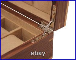 Luxury Large 10 Walnut Wood Watch Storage Wooden Case Jewellery Box