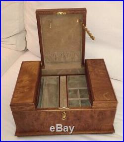 Luxury Locking AGRESTI Briarwood Jewelry Box Italy Italian LARGE 14.5 X 10