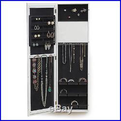 Luxury Mirrored Jewelry Armoire Cabinet White Chest Box Storage Wood Wall Door