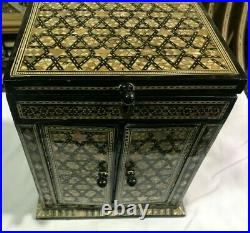 M15 Vintage Egyptian Wood Jewelry Box Inlaid Mother of Pearl Handmade 10.5 inch