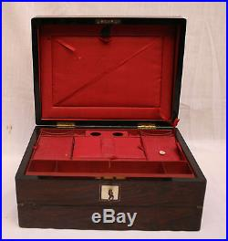 MAGNIFICENT 19c FRENCH WOODEN JEWELRY BOX WITH MOTHER OF PEARL KEY & LOCK