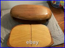 MCM Handcrafted Wood Oval Jewelry Box With Velvet Lined Drawer By Dean Santner