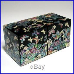 MOP Art Butterfly Wood Lacquer Keepsake Treasure Chest Jewelry Trinket Box Case