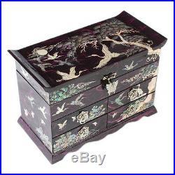MOP Asian Lacquer Wood Purple Treasure Chest Jewelry Keepsake Trinket Gift Box