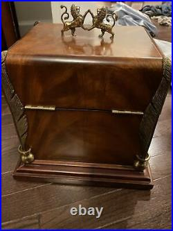 Maitland-Smith Burl Wood Brass Jewelry & Writing Box Lions Quills N-e-w Cond