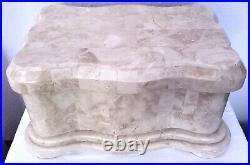 Maitland Smith Jewelry BOX Casket Marble Tessellated Mosaic Stone Wood Lining