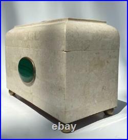 Maitland Smith Malachite Tessellated Marble Jewelry Box 9 Vanity Dresser Casket