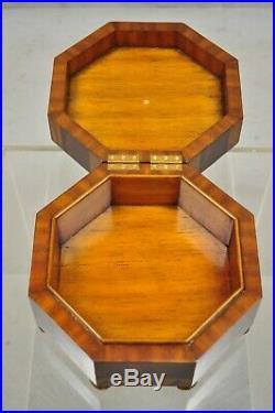 Maitland Smith Marquetry Inlay Octagonal Wood Brass Desk Trinket Jewelry Box