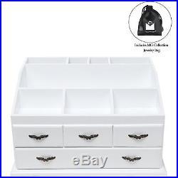 Makeup Cosmetics Jewelry Organizer Multipurpose Storage Drawer Wood Cabinet Box