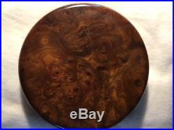 Mark Cross jewelry box, Burl wood and suede