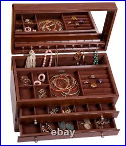 Mele & Co Brigitte Antique Walnut Finish Wooden Jewelry Box Full Interior Mirror