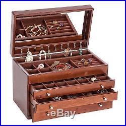 Mele & Co. Brigitte Wooden Jewelry Box Antique Walnut Finish 13.75W x 8.875H