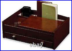 Mens Jewelry Box Valet Station Dresser Burlwood Walnut Cell Phone Watch Ring New