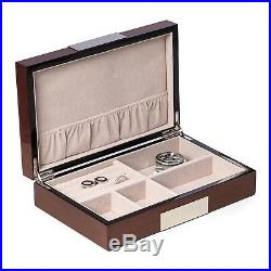 Mens Jewelry Boxes Lacquered Walnut Wood Jewelry And Watch Box
