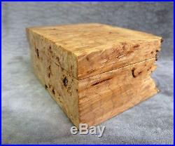 Michael Elkan Burl Wood Jewelry Or Trinket Box, Signed, Bird's Eye Maple