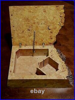 Michael Elkan Burled Wood Box Wooden Trinket Stash Desk Jewelry 1980s FREE SHIP