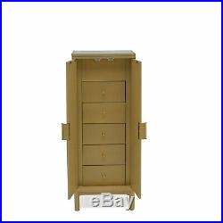 Mid Century Modern Natural Wood Finish Freestanding Jewelry Armoire Cabinet
