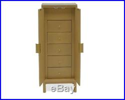 Mid Century Modern Natural Wood Freestanding Jewelry Armoire Cabinet Chest Box