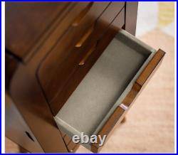 Mid Century Modern Wood Jewelry Armoire Cabinet Freestanding Chest Drawers Box