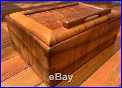 Mid Century Signed Ricardo Dellera Honolulu Hawaii Koa Curly Wood Jewelry Box