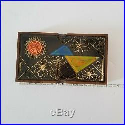 Midcentury Modern Higgins Bird Sun Glass Lid Wood Card Trinket Jewelry Box MCM