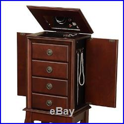 Mirrored Jewelry Armoire Box Organizer Cabinet Tall Stand Up Espresso Wood Chest