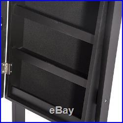 Mirrored Jewelry Armoire Box Organizer Tall Stand Up Cabinet Storage Walnut Wood