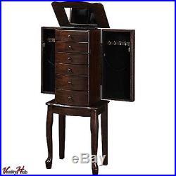 Mirrored Jewelry Armoire Box Organizer Tall Stand Up Cabinet Walnut Wood Storage