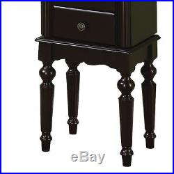 Mirrored Jewelry Armoire Box Organizer Tall Stand Up Vintage Cabinet Wood Black