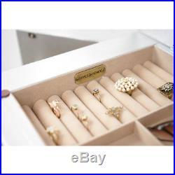 Mirrored Jewelry Armoire Cabinet Tall Storage Chest Organizer Stand Mirror Box