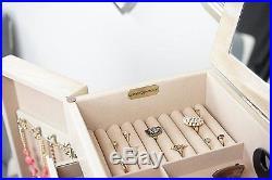 Mirrored Vintage Jewelry Armoire, Dresser Storage Cabinet Grey Wood Box 8-Drawer