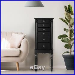 Mirrored Wood Jewelry Cabinet Armoire Box Storage Chest Stand Organizer Black US