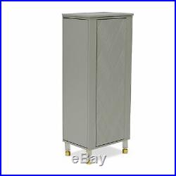 Modern Embossed Wave Gray Wood Freestanding Jewelry Armoire Cabinet Storage
